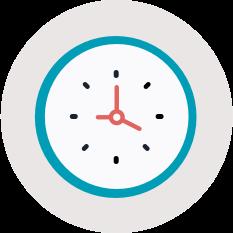 flat illustration of clock in grey circle