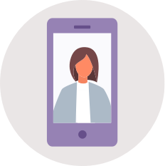 flat illustration of mobile phone in grey circle