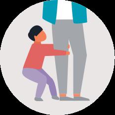 flat illustration of child pulling on parent's leg in grey circle