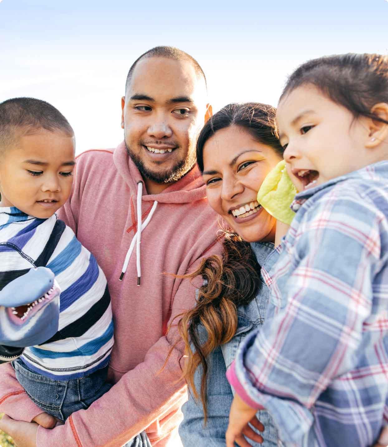 Hispanic family with 2 children